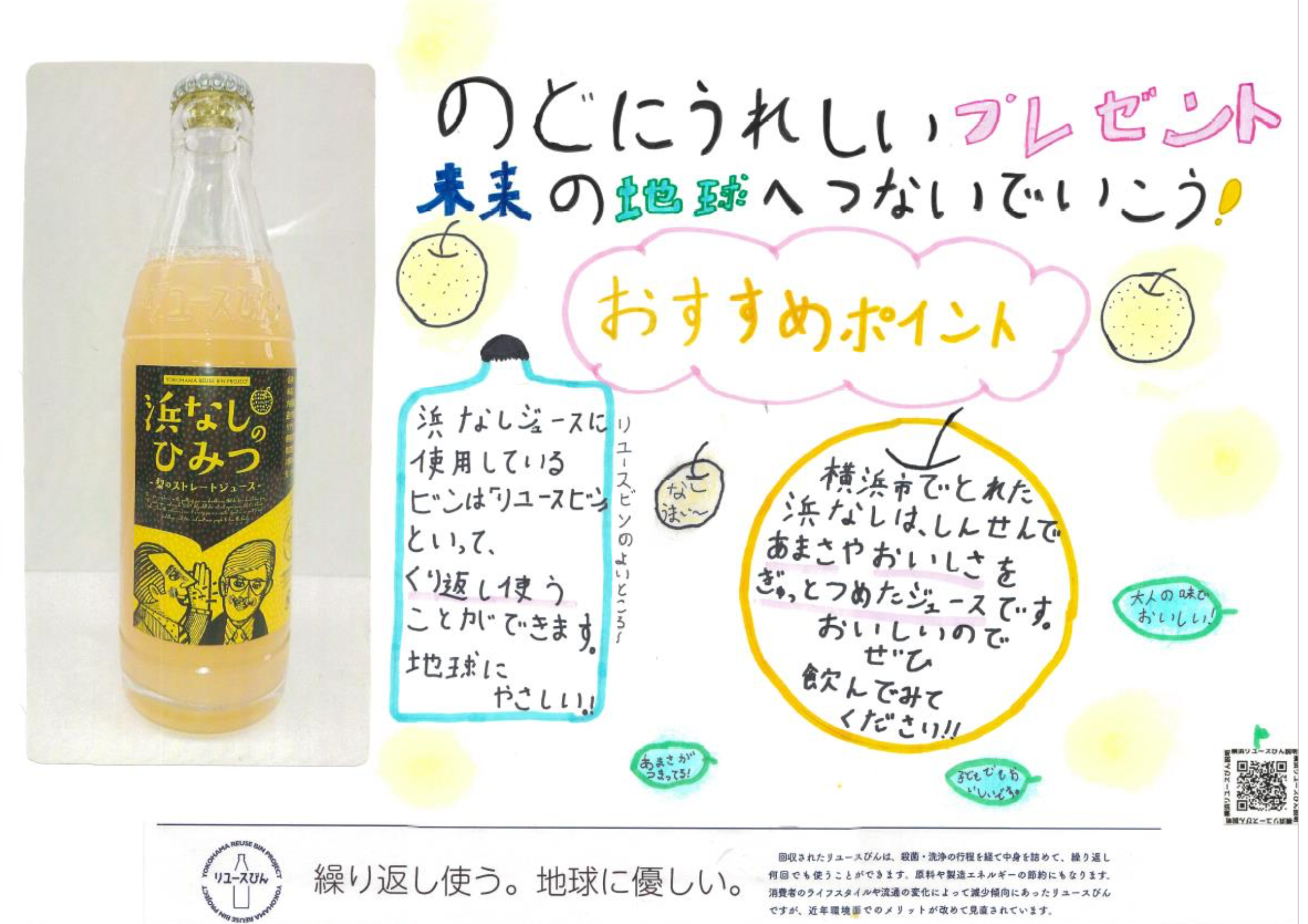 小学生が描いた、オリジナル飲料とリユースびんのポスター